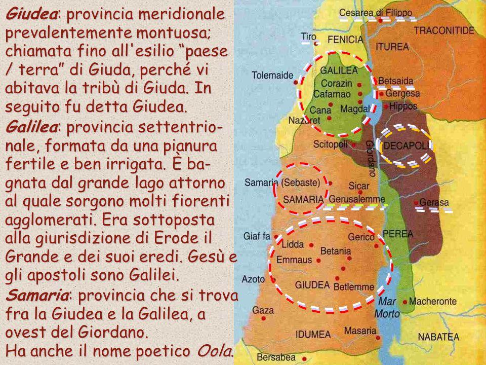Giudea: provincia meridionale prevalentemente montuosa; chiamata fino all esilio paese / terra di Giuda, perché vi abitava la tribù di Giuda.