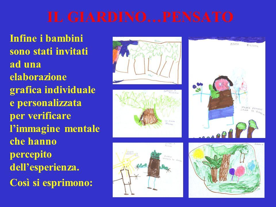 IL GIARDINO…PENSATO Infine i bambini sono stati invitati ad una elaborazione grafica individuale e personalizzata per verificare limmagine mentale che hanno percepito dellesperienza.