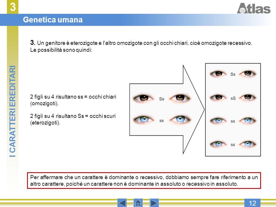 3 12 3. Un genitore è eterozigote e l'altro omozigote con gli occhi chiari, cioè omozigote recessivo. Le possibilità sono quindi: 2 figli su 4 risulta