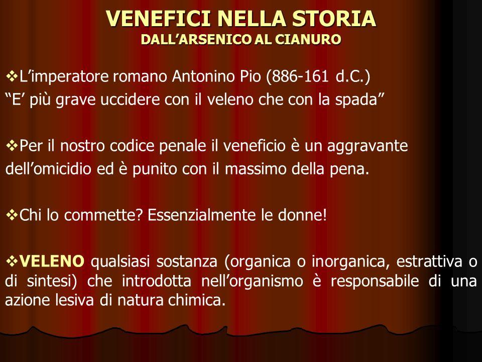 VENEFICI NELLA STORIA DALLARSENICO AL CIANURO Limperatore romano Antonino Pio (886-161 d.C.) E più grave uccidere con il veleno che con la spada Per i