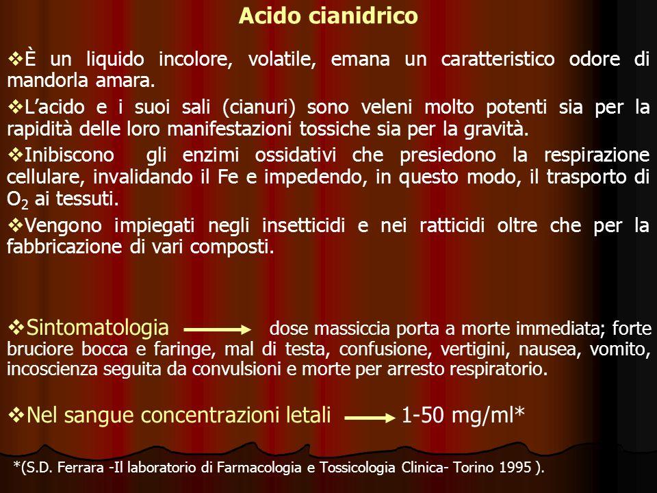 Acido cianidrico È un liquido incolore, volatile, emana un caratteristico odore di mandorla amara. Lacido e i suoi sali (cianuri) sono veleni molto po