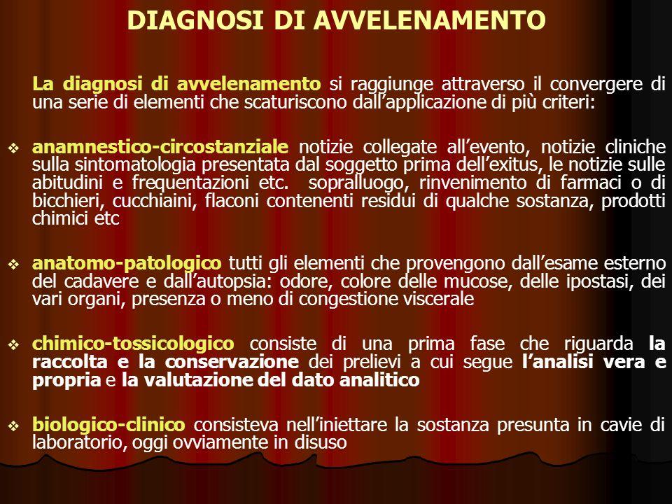 La diagnosi di avvelenamento si raggiunge attraverso il convergere di una serie di elementi che scaturiscono dallapplicazione di più criteri: anamnest