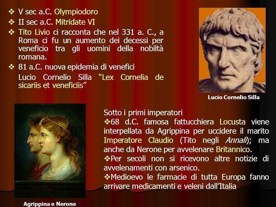 V sec a.C. Olympiodoro II sec a.C. Mitridate VI Tito Livio ci racconta che nel 331 a. C., a Roma ci fu un aumento dei decessi per veneficio tra gli uo