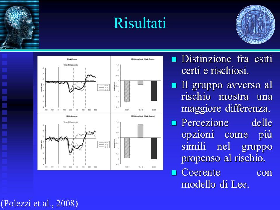 Risultati (Polezzi et al., 2008) Distinzione fra esiti certi e rischiosi. Distinzione fra esiti certi e rischiosi. Il gruppo avverso al rischio mostra