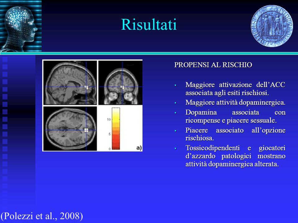 Risultati (Polezzi et al., 2008) PROPENSI AL RISCHIO Maggiore attivazione dellACC associata agli esiti rischiosi. Maggiore attivazione dellACC associa