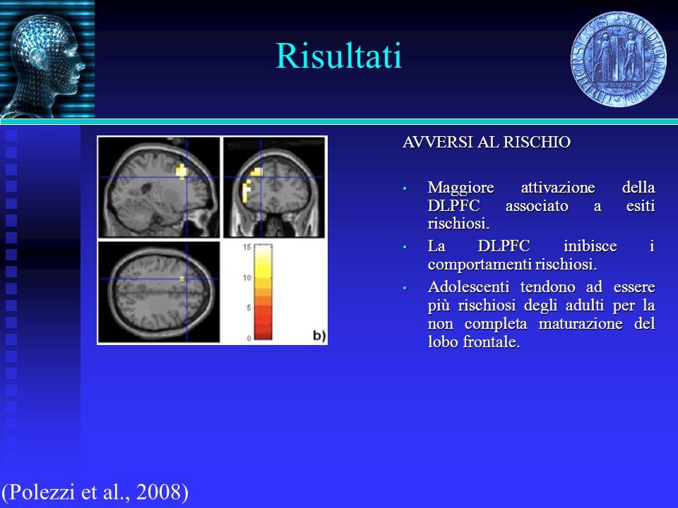 Risultati (Polezzi et al., 2008) AVVERSI AL RISCHIO Maggiore attivazione della DLPFC associato a esiti rischiosi. Maggiore attivazione della DLPFC ass