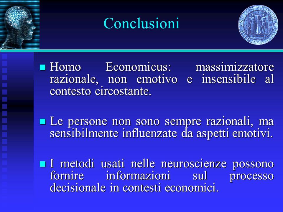 Homo Economicus: massimizzatore razionale, non emotivo e insensibile al contesto circostante. Homo Economicus: massimizzatore razionale, non emotivo e