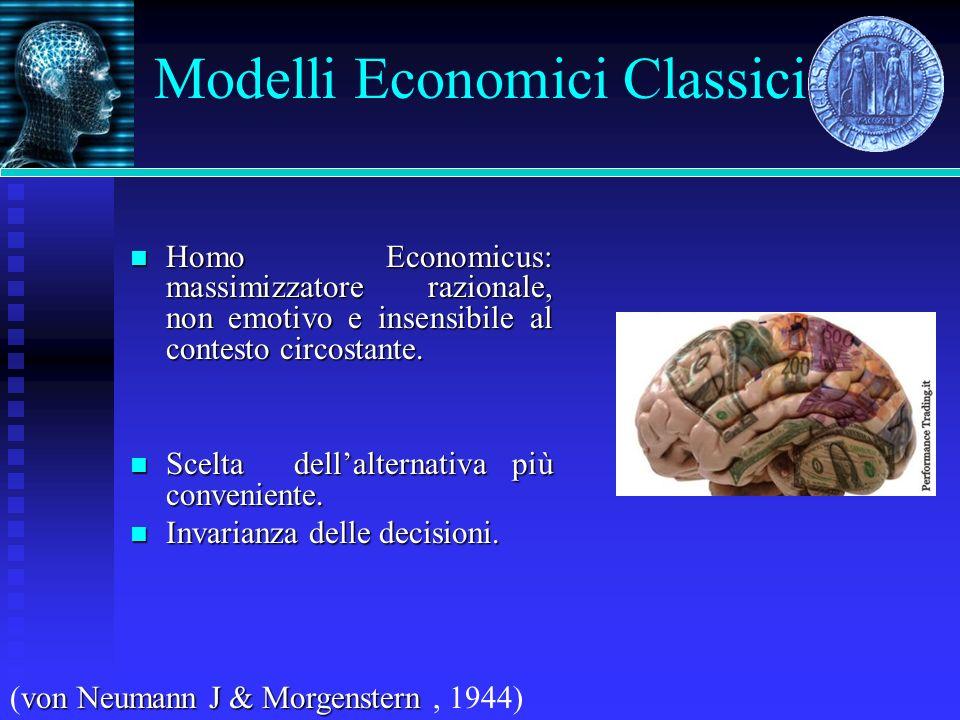 Modelli Economici Classici Homo Economicus: massimizzatore razionale, non emotivo e insensibile al contesto circostante. Homo Economicus: massimizzato
