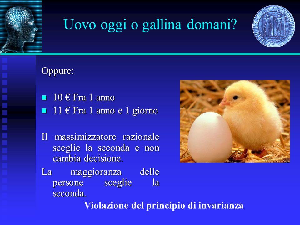 Uovo oggi o gallina domani? Oppure: 10 Fra 1 anno 10 Fra 1 anno 11 Fra 1 anno e 1 giorno 11 Fra 1 anno e 1 giorno Il massimizzatore razionale sceglie