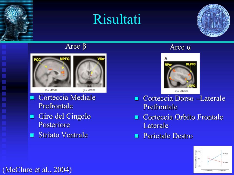 Risultati Aree β Corteccia Mediale Prefrontale Corteccia Mediale Prefrontale Giro del Cingolo Posteriore Giro del Cingolo Posteriore Striato Ventrale