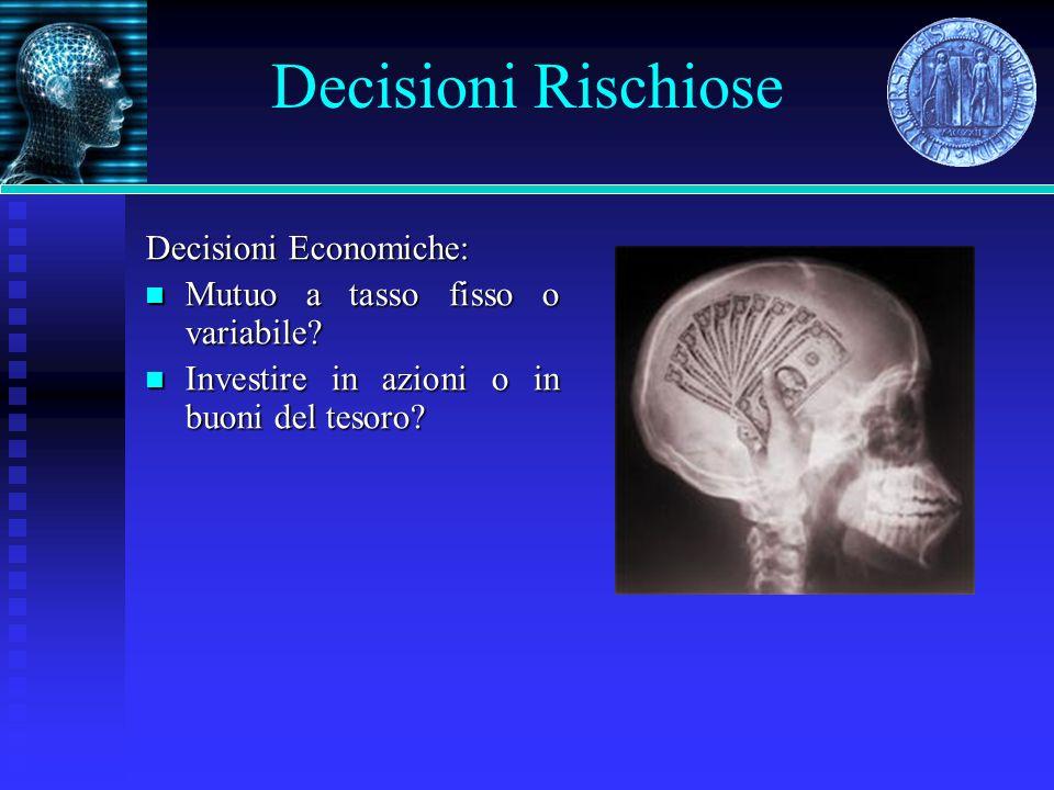 Risultati (Polezzi et al., 2008) AVVERSI AL RISCHIO Maggiore attivazione della DLPFC associato a esiti rischiosi.