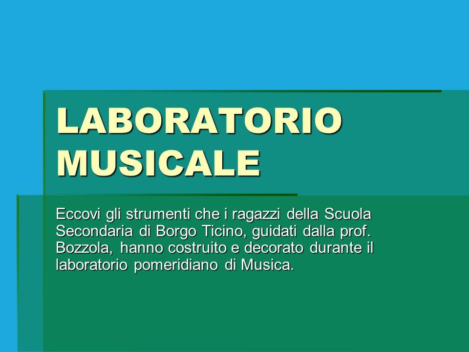 LABORATORIO MUSICALE Eccovi gli strumenti che i ragazzi della Scuola Secondaria di Borgo Ticino, guidati dalla prof. Bozzola, hanno costruito e decora
