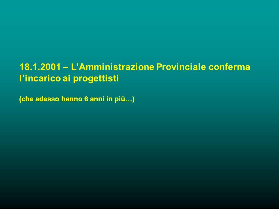 18.1.2001 – LAmministrazione Provinciale conferma lincarico ai progettisti (che adesso hanno 6 anni in più…)