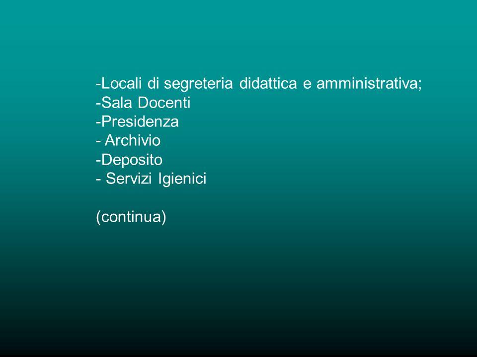 -Locali di segreteria didattica e amministrativa; -Sala Docenti -Presidenza - Archivio -Deposito - Servizi Igienici (continua)