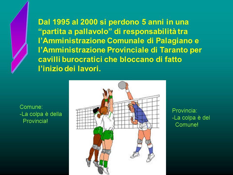 Dal 1995 al 2000 si perdono 5 anni in una partita a pallavolo di responsabilità tra lAmministrazione Comunale di Palagiano e lAmministrazione Provinciale di Taranto per cavilli burocratici che bloccano di fatto linizio dei lavori.