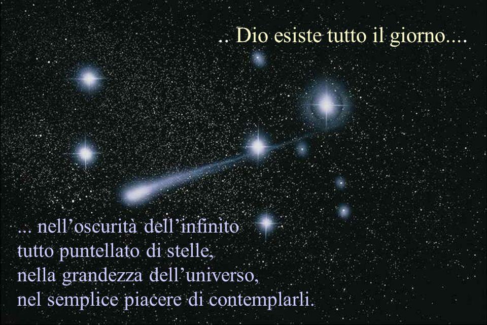 ... nelloscurità dellinfinito tutto puntellato di stelle, nella grandezza delluniverso, nel semplice piacere di contemplarli... Dio esiste tutto il gi