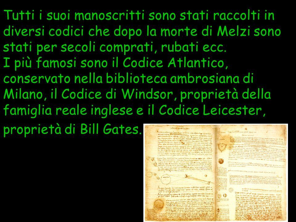 Tutti i suoi manoscritti sono stati raccolti in diversi codici che dopo la morte di Melzi sono stati per secoli comprati, rubati ecc. I più famosi son