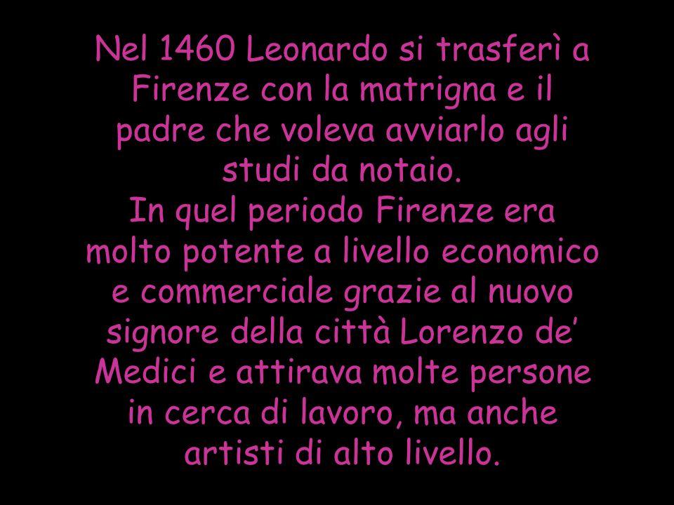 Nel 1460 Leonardo si trasferì a Firenze con la matrigna e il padre che voleva avviarlo agli studi da notaio. In quel periodo Firenze era molto potente