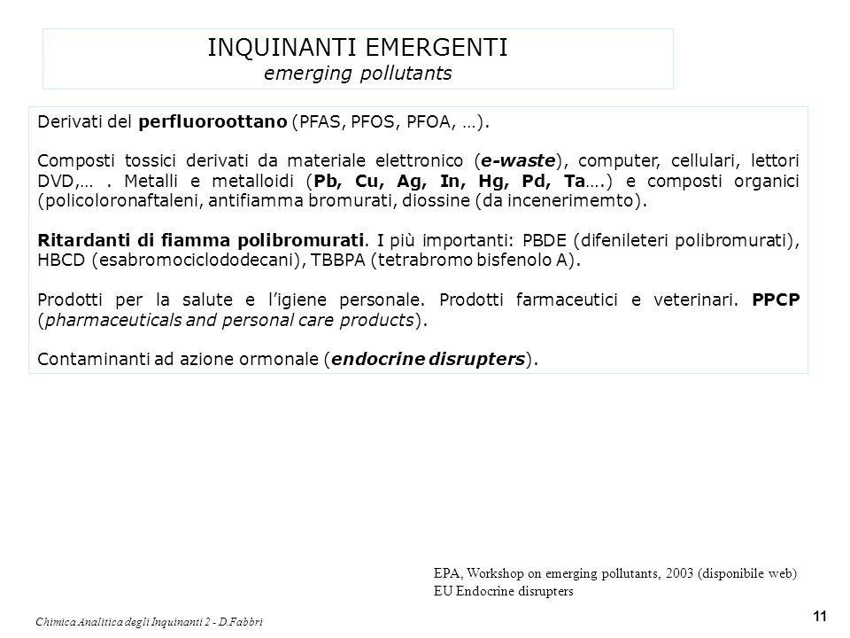Chimica Analitica degli Inquinanti 2 - D.Fabbri 11 INQUINANTI EMERGENTI emerging pollutants Derivati del perfluoroottano (PFAS, PFOS, PFOA, …). Compos