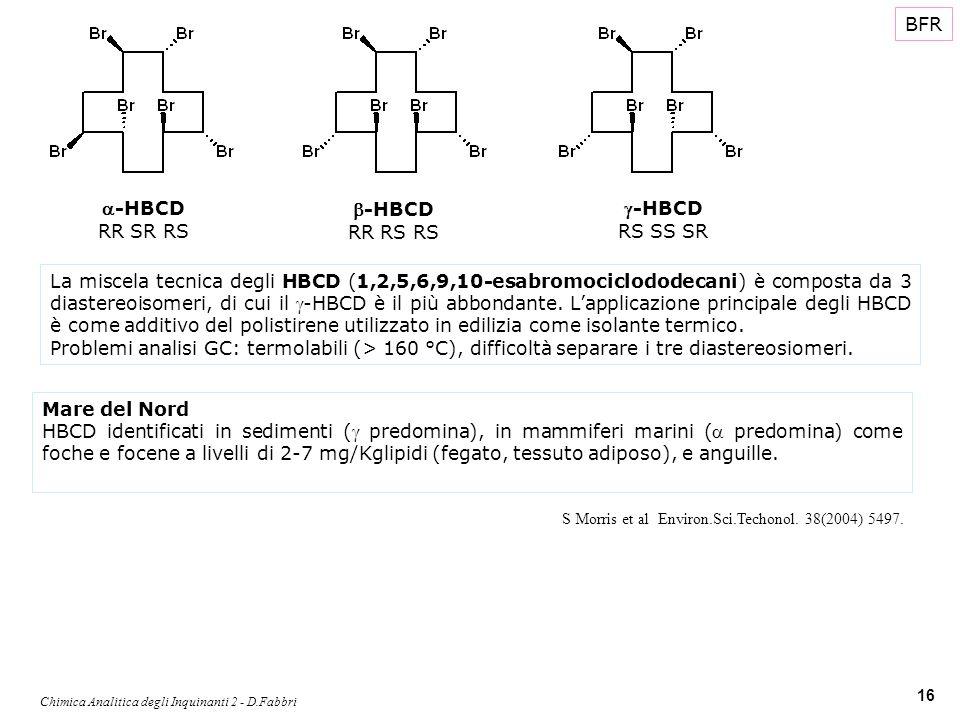 Chimica Analitica degli Inquinanti 2 - D.Fabbri 16 BFR La miscela tecnica degli HBCD (1,2,5,6,9,10-esabromociclododecani) è composta da 3 diastereoiso