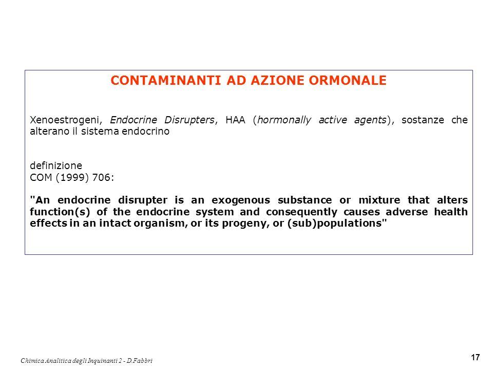 Chimica Analitica degli Inquinanti 2 - D.Fabbri 17 CONTAMINANTI AD AZIONE ORMONALE Xenoestrogeni, Endocrine Disrupters, HAA (hormonally active agents)