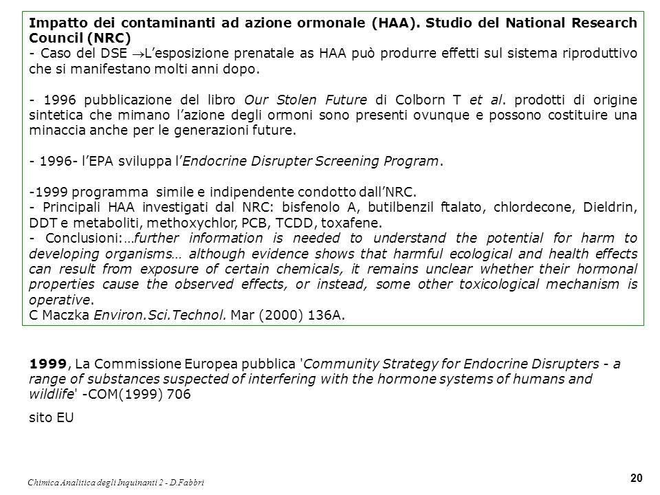 Chimica Analitica degli Inquinanti 2 - D.Fabbri 20 Impatto dei contaminanti ad azione ormonale (HAA). Studio del National Research Council (NRC) - Cas