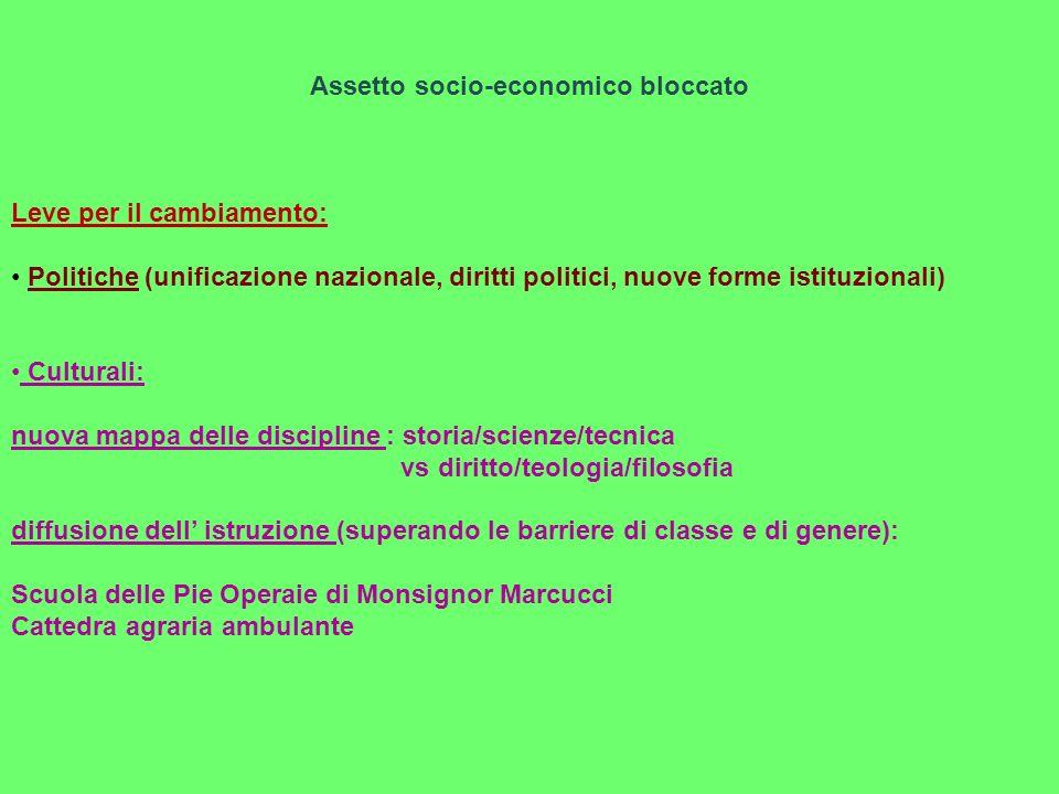 Assetto socio-economico bloccato Leve per il cambiamento: Politiche (unificazione nazionale, diritti politici, nuove forme istituzionali) Culturali: n