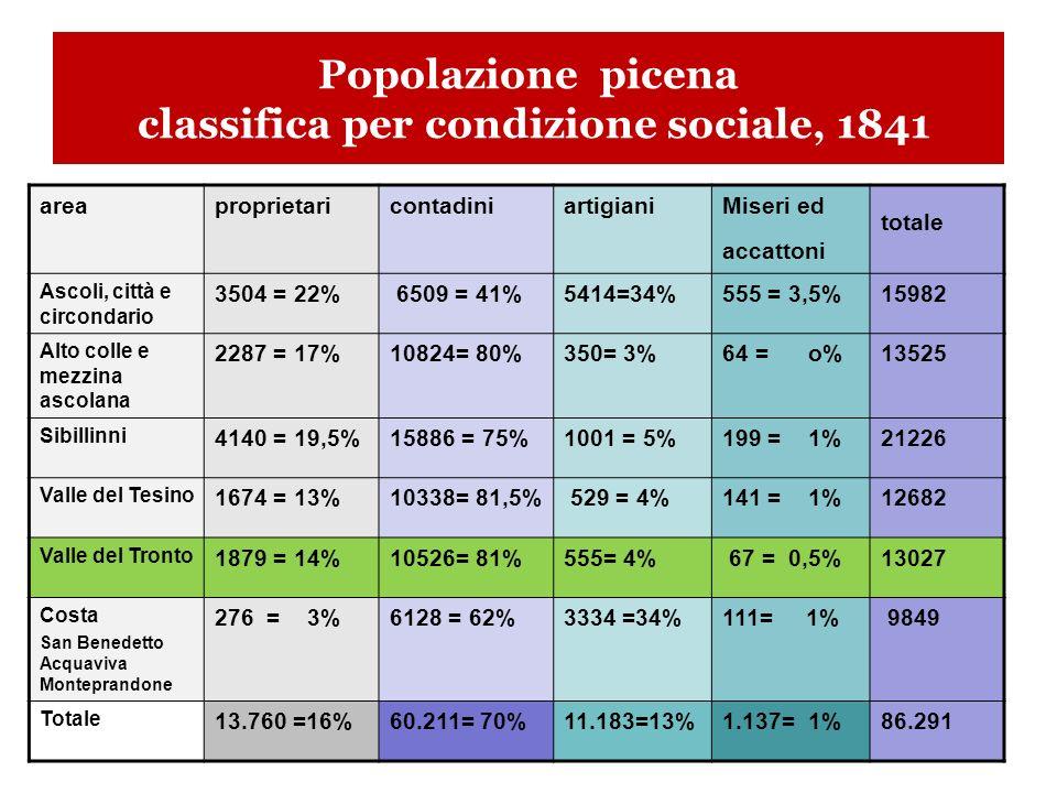 Popolazione picena classifica per condizione sociale, 1841 areaproprietaricontadiniartigianiMiseri ed accattoni totale Ascoli, città e circondario 3504 = 22% 6509 = 41%5414=34%555 = 3,5%15982 Alto colle e mezzina ascolana 2287 = 17%10824= 80%350= 3%64 = o%13525 Sibillinni 4140 = 19,5%15886 = 75%1001 = 5%199 = 1%21226 Valle del Tesino 1674 = 13%10338= 81,5% 529 = 4%141 = 1%12682 Valle del Tronto 1879 = 14%10526= 81%555= 4% 67 = 0,5%13027 Costa San Benedetto Acquaviva Monteprandone 276 = 3%6128 = 62%3334 =34%111= 1% 9849 Totale 13.760 =16%60.211= 70%11.183=13%1.137= 1%86.291