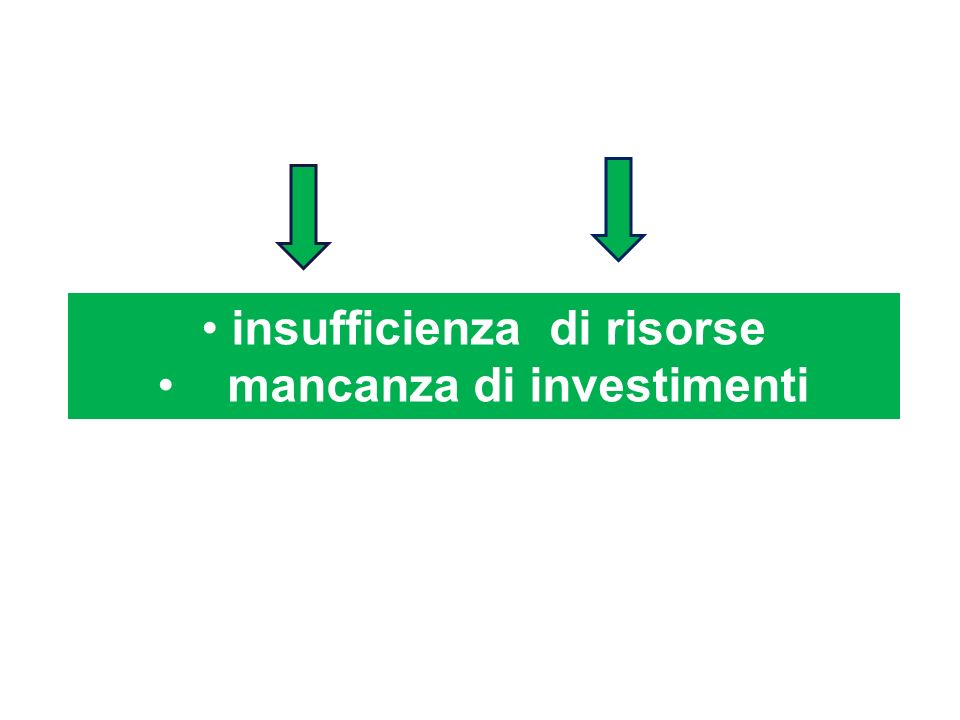 insufficienza di risorse mancanza di investimenti