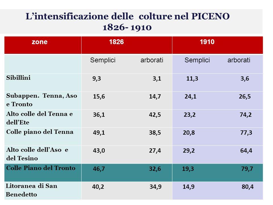 Lintensificazione delle colture nel PICENO 1826- 1910 zone 1826 1910 Semplici arborati Semplici arborati Sibillini 9,3 3,111,3 3,6 Subappen.
