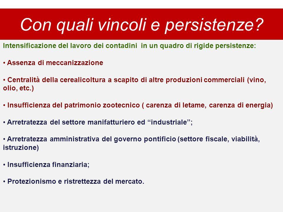 Con quali vincoli e persistenze? Intensificazione del lavoro dei contadini in un quadro di rigide persistenze: Assenza di meccanizzazione Centralità d