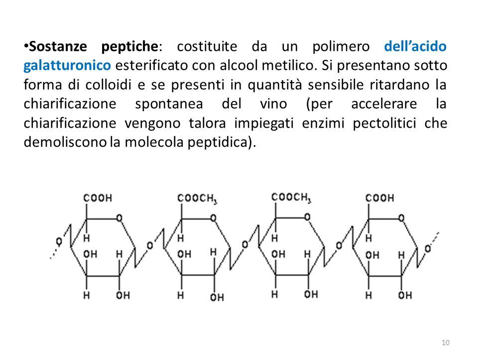 Sostanze peptiche: costituite da un polimero dellacido galatturonico esterificato con alcool metilico. Si presentano sotto forma di colloidi e se pres