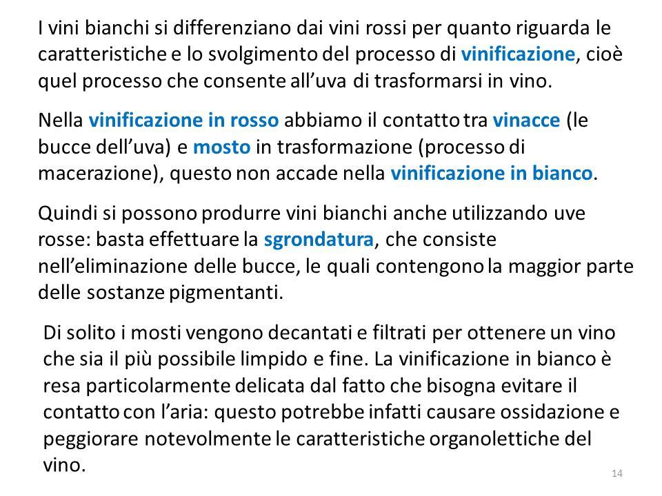 I vini bianchi si differenziano dai vini rossi per quanto riguarda le caratteristiche e lo svolgimento del processo di vinificazione, cioè quel proces
