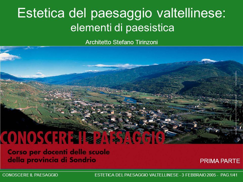 CONOSCERE IL PAESAGGIO ESTETICA DEL PAESAGGIO VALTELLINESE - 3 FEBBRAIO 2005 - PAG.1/41 Estetica del paesaggio valtellinese: Architetto Stefano Tirinz