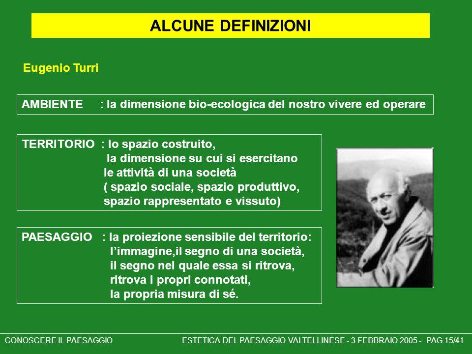 Eugenio Turri CONOSCERE IL PAESAGGIO ESTETICA DEL PAESAGGIO VALTELLINESE - 3 FEBBRAIO 2005 - PAG.15/41 ALCUNE DEFINIZIONI AMBIENTE : la dimensione bio