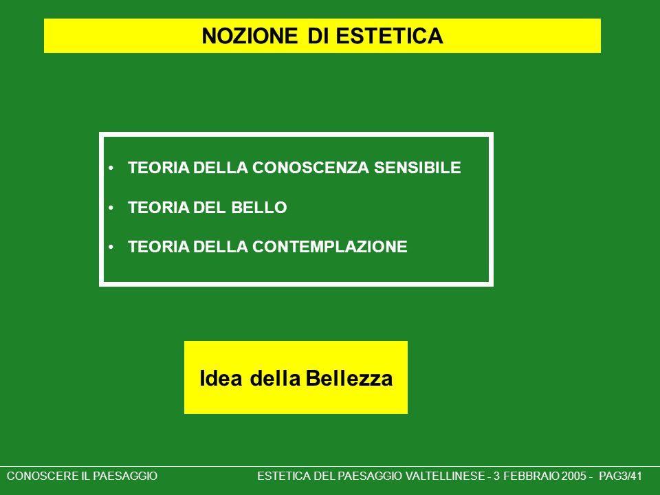 CONOSCERE IL PAESAGGIO ESTETICA DEL PAESAGGIO VALTELLINESE - 3 FEBBRAIO 2005 - PAG3/41 NOZIONE DI ESTETICA TEORIA DELLA CONOSCENZA SENSIBILE TEORIA DE