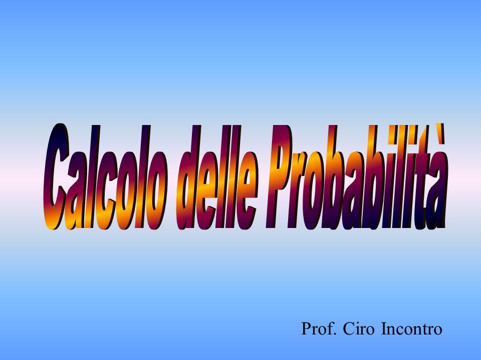 Premessa Eventi Definizione classica di probabilità I valori della probabilità Insiemi ed eventi Evento unione Evento intersezione Teorema della probabilità dellevento contrario Teorema della Probabilità Totale (eventi incompatibili) Teorema della Probabilità Totale (eventi compatibili) Teorema della Probabilità Condizionata Teorema della Probabilità Composta (eventi indipendenti) Teorema della Probabilità Composta (eventi dipendenti)