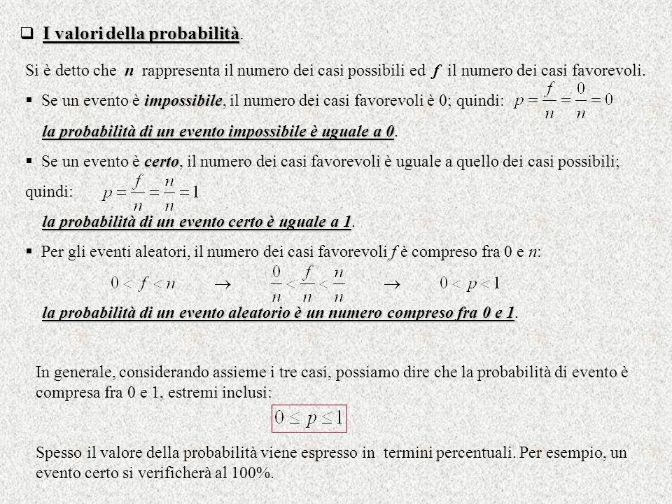 I valori della probabilità I valori della probabilità. Si è detto che n rappresenta il numero dei casi possibili ed f il numero dei casi favorevoli. i