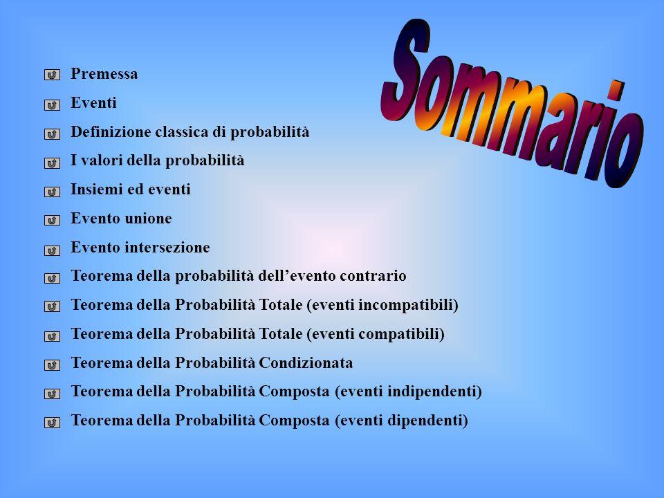Premessa Eventi Definizione classica di probabilità I valori della probabilità Insiemi ed eventi Evento unione Evento intersezione Teorema della proba
