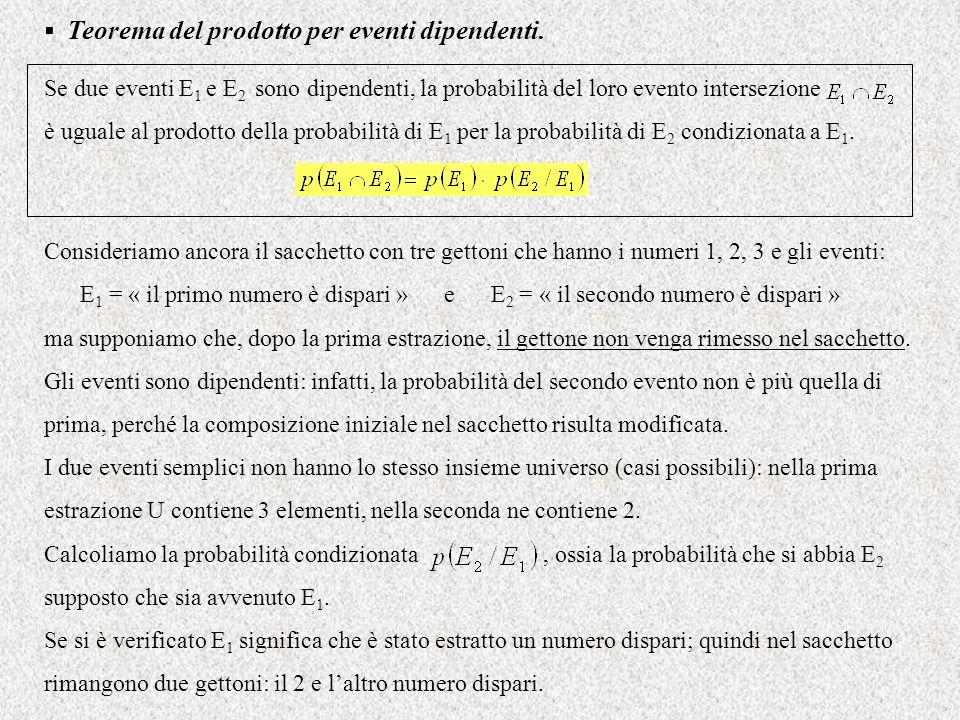 Teorema del prodotto per eventi dipendenti. Se due eventi E 1 e E 2 sono dipendenti, la probabilità del loro evento intersezione è uguale al prodotto