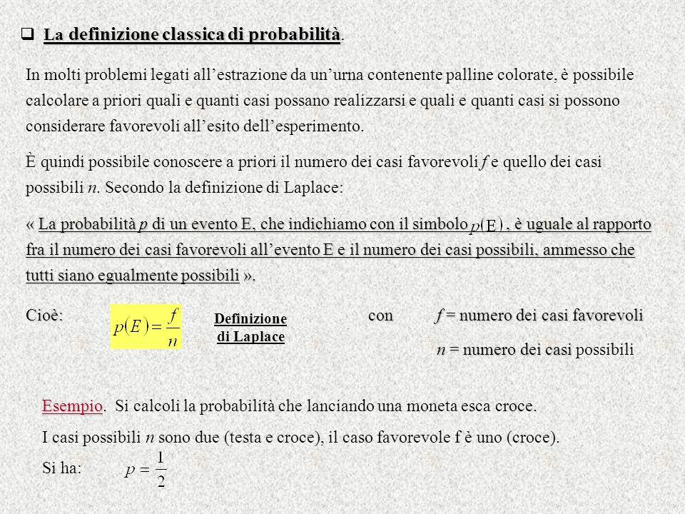 La definizione classica di probabilità La definizione classica di probabilità. In molti problemi legati allestrazione da unurna contenente palline col