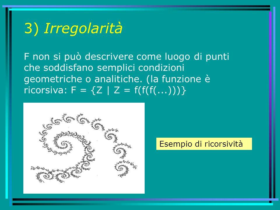 3) Irregolarità F non si può descrivere come luogo di punti che soddisfano semplici condizioni geometriche o analitiche. (la funzione è ricorsiva: F =