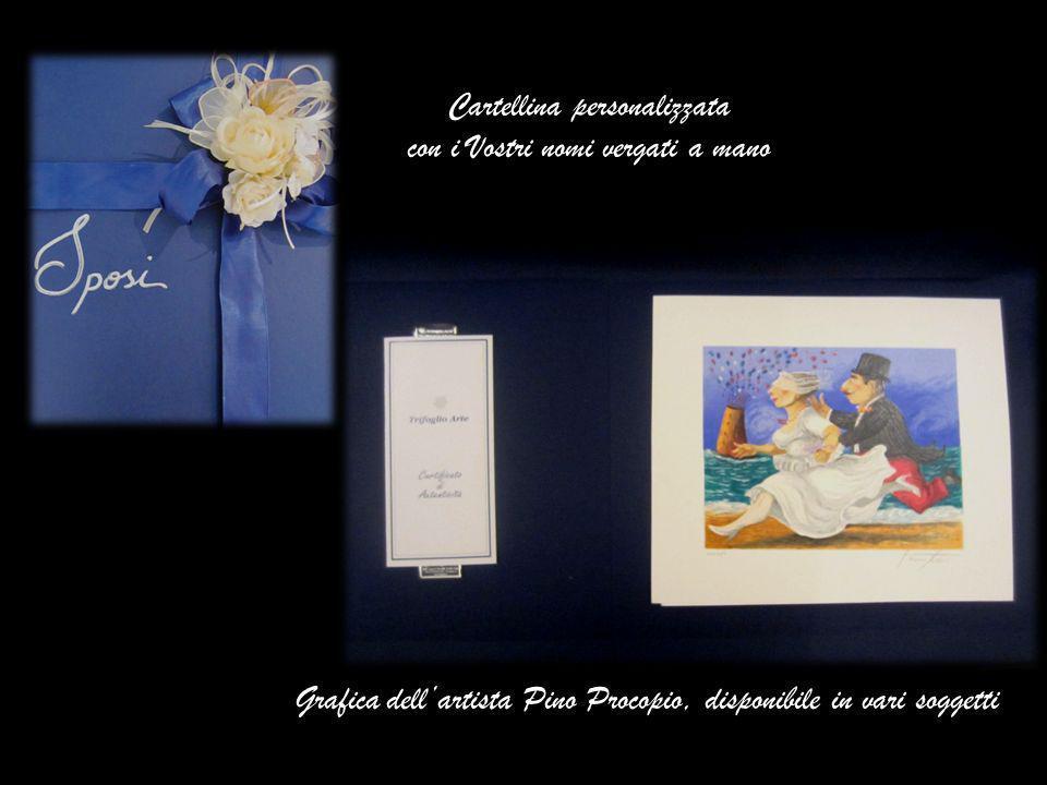 Cartellina personalizzata con i Vostri nomi vergati a mano Grafica dellartista Pino Procopio, disponibile in vari soggetti