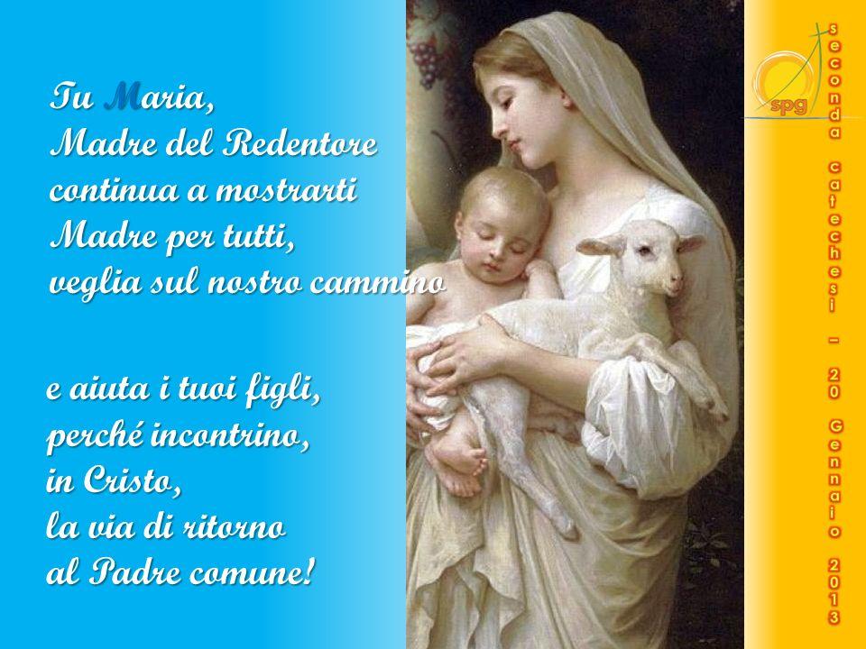 Maria, Madre della Speranza, a Te con fiducia ci affidiamo. Con Te intendiamo seguire Cristo, Redentore delluomo: la stanchezza non ci appesantisca né