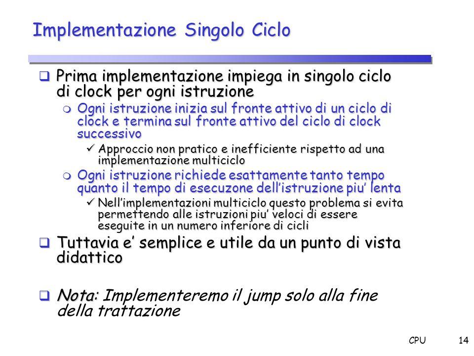 CPU14 Implementazione Singolo Ciclo Prima implementazione impiega in singolo ciclo di clock per ogni istruzione Prima implementazione impiega in singo