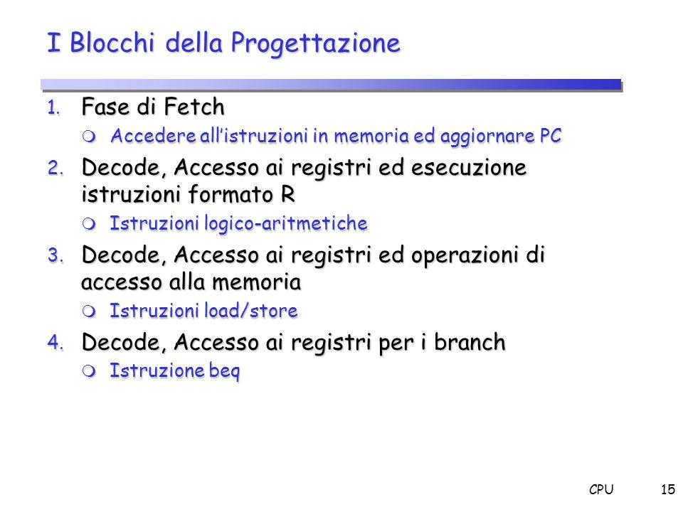 CPU15 I Blocchi della Progettazione 1. Fase di Fetch Accedere allistruzioni in memoria ed aggiornare PC Accedere allistruzioni in memoria ed aggiornar