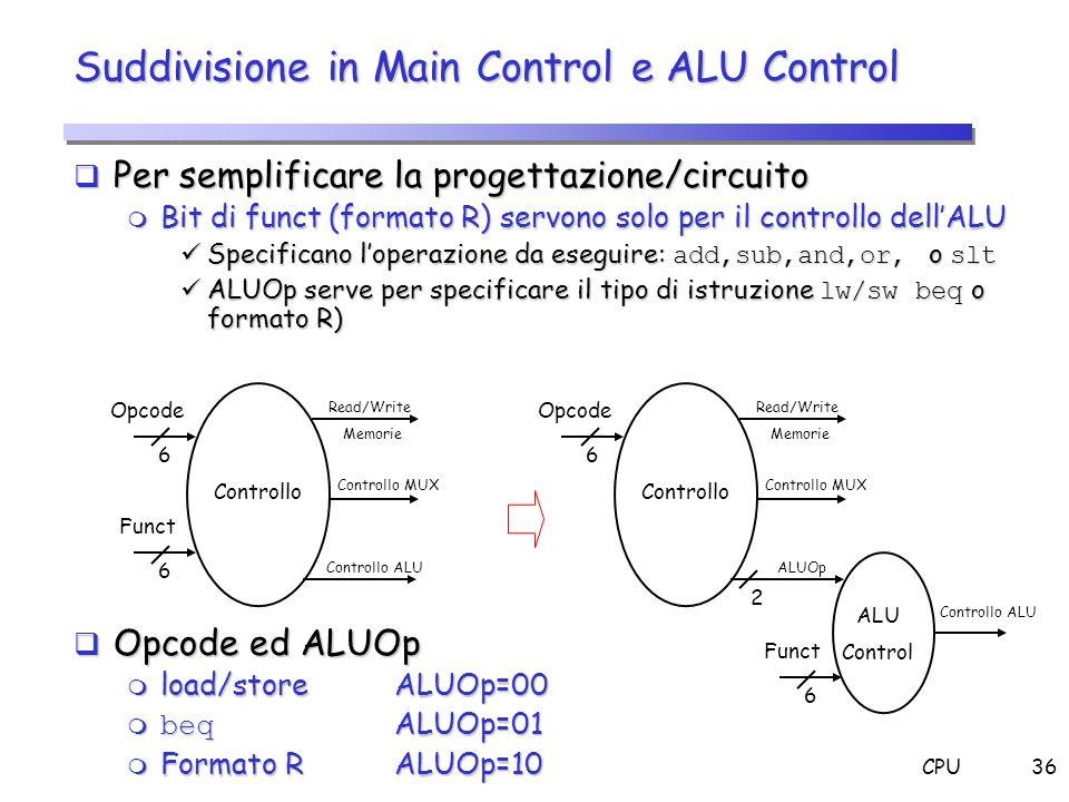 CPU36 Suddivisione in Main Control e ALU Control Per semplificare la progettazione/circuito Per semplificare la progettazione/circuito m Bit di funct