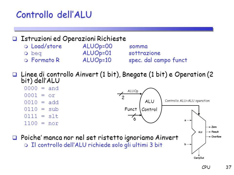 CPU37 Istruzioni ed Operazioni Richieste Istruzioni ed Operazioni Richieste m Load/store ALUOp=00somma beq ALUOp=01 sottrazione beq ALUOp=01 sottrazio