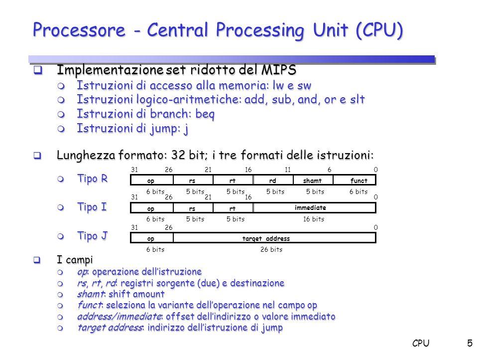 CPU5 Processore - Central Processing Unit (CPU) Implementazione set ridotto del MIPS Implementazione set ridotto del MIPS m Istruzioni di accesso alla