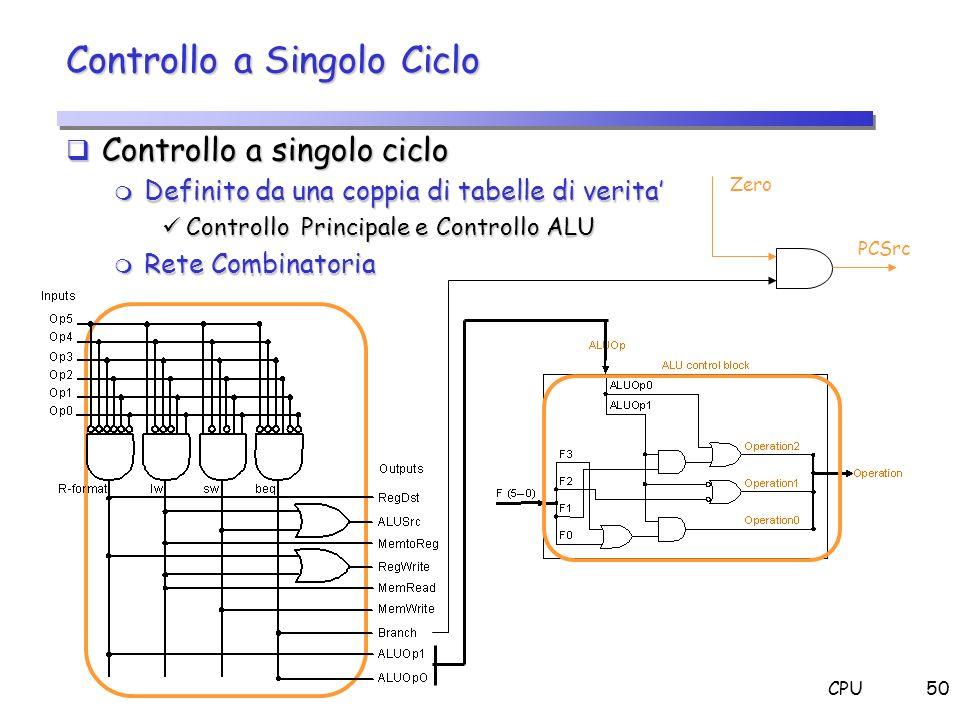 CPU50 Controllo a Singolo Ciclo Controllo a singolo ciclo Controllo a singolo ciclo m Definito da una coppia di tabelle di verita Controllo Principale